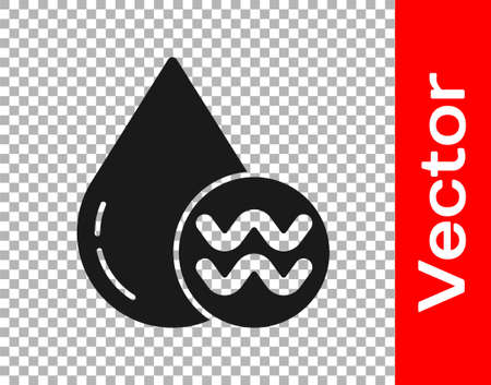 Black Recycle clean aqua icon isolated on transparent background. Drop of water with sign recycling. Vector Illustration Ilustração
