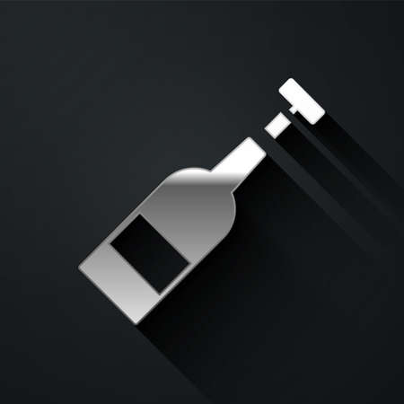 Silver Opened bottle of wine icon isolated on black background. Long shadow style. Vector Illustration