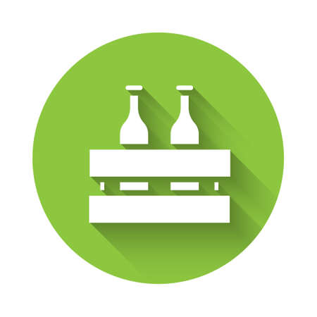 White Pack of beer bottles icon isolated with long shadow. Wooden box and beer bottles. Case crate beer box sign. Green circle button. Vector Illustration