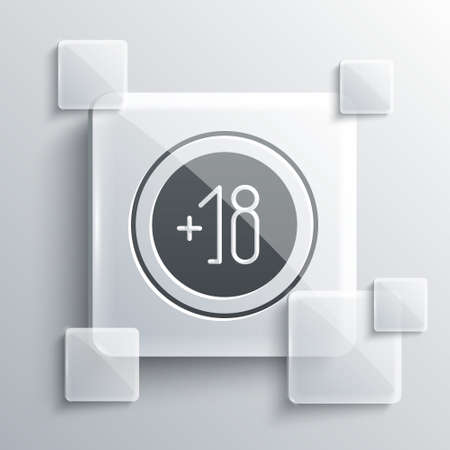 Grey Alcohol 18 plus icon isolated on grey background. Prohibiting alcohol beverages. Square glass panels. Vector Illustration