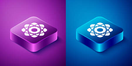 Isometric Atom icon isolated on blue and purple background. Symbol of science, education, nuclear physics, scientific research. Square button. Vector Illustration