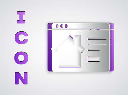 Paper cut Online real estate house in browser icon isolated on grey background. Home loan concept, rent, buy, buying a property. Paper art style. Vector Illustration