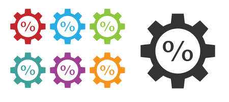 Black Gear with percent icon isolated on white background. Set icons colorful. Vector Illustration