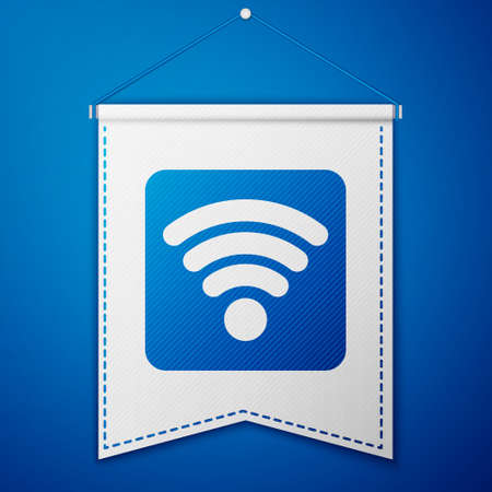 Blue wireless internet network symbol icon isolated on blue background. White pennant template. Vector Illustration Vectores