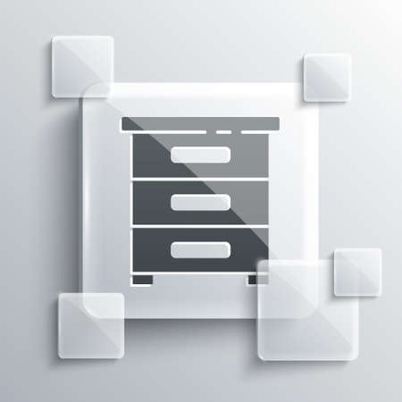 Grey Drawer with documents icon isolated on grey background. Archive papers drawer. File Cabinet Drawer. Office furniture. Square glass panels. Vector Illustration Archivio Fotografico - 150691265
