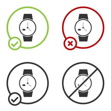 Black Wrist watch icon isolated on white background. Wristwatch icon. Circle button. Vector Illustration Illusztráció
