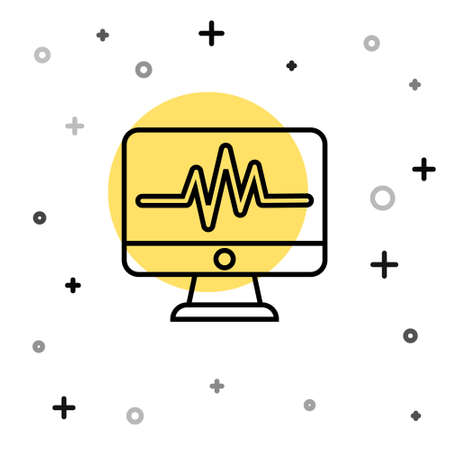 Black line Computer monitor with cardiogram icon isolated on white background. Monitoring icon. ECG monitor with heart beat hand drawn. Random dynamic shapes. Vector Illustration