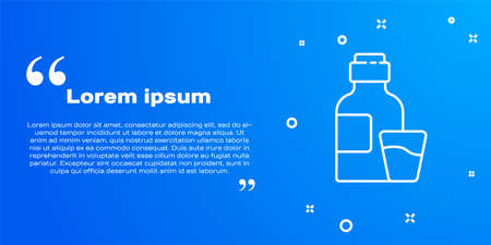 White line Bottle of medicine syrup and dose measuring cup solid icon isolated on blue background. Vector Illustration