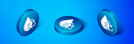 Isometric Recycle clean aqua icon isolated on blue background. Drop of water with sign recycling. Blue circle button. Vector Illustration