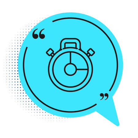 Black line Stopwatch icon isolated on white background. Time timer sign. Chronometer sign. Blue speech bubble symbol. Vector Illustration