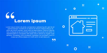 White line Online real estate house in browser icon isolated on blue background. Home loan concept, rent, buy, buying a property. Vector Illustration