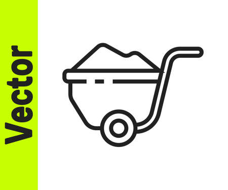 Black line Wheelbarrow with dirt icon isolated on white background. Tool equipment. Agriculture cart wheel farm. Vector Illustration Illustration