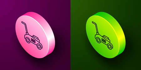 Isometric line Lawn mower icon isolated on purple and green background. Lawn mower cutting grass. Circle button. Vector Illustration Ilustracja