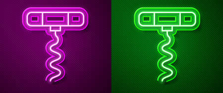 Glowing neon line Wine corkscrew icon isolated on purple and green background. Vector Illustration