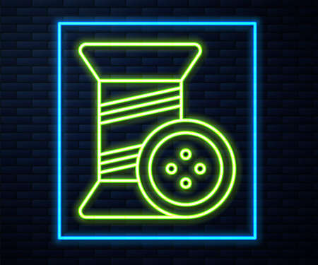 Glowing neon line Sewing thread on spool and button icon isolated on brick wall background. Yarn spool. Thread bobbin. Vector Illustration
