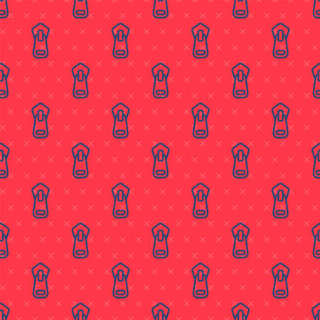 Blue line Zipper icon isolated seamless pattern on red background. Vector Illustration