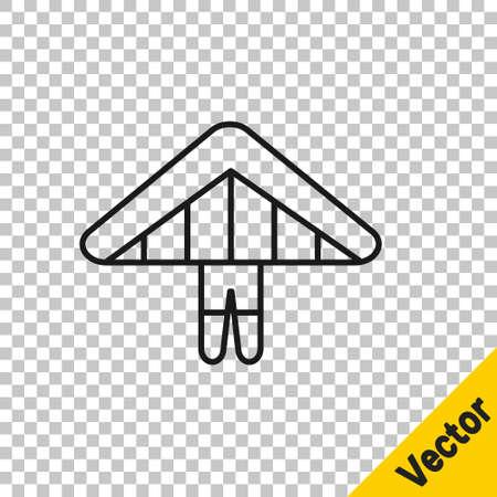 Black line Hang glider icon isolated on transparent background. Extreme sport. Vector Illustration Иллюстрация