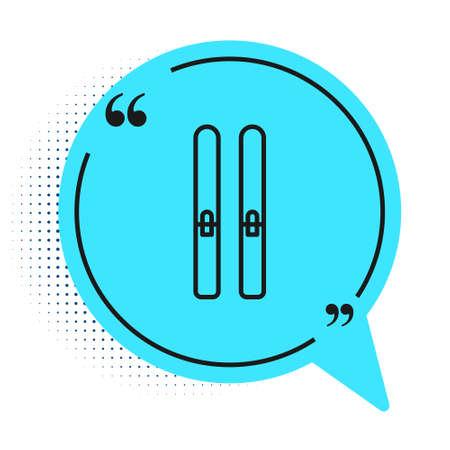 Black line Ski and sticks icon isolated on white background. Extreme sport. Skiing equipment. Winter sports icon. Blue speech bubble symbol. Vector Illustration Ilustrace