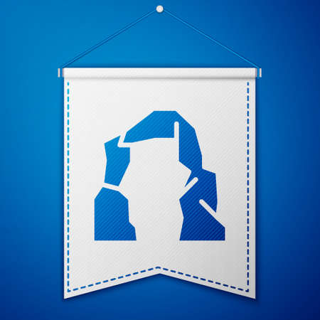 Blue Grand canyon icon isolated on blue background. National park in Arizona United States. White pennant template. Vector Illustration Illustration
