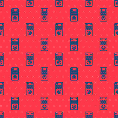 Blue line Remote control icon isolated seamless pattern on red background. Vector Illustration 向量圖像