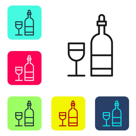 Black line Wine bottle with glass icon isolated on white background. Set icons in color square buttons. Vector Illustration