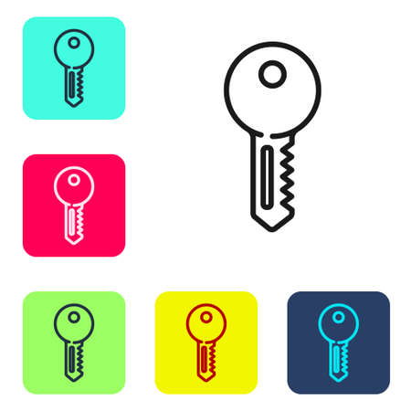 Black line House key icon isolated on white background. Set icons in color square buttons. Vector Illustration