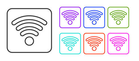 Black line wireless internet network symbol icon isolated on white background. Set icons colorful. Vector Illustration