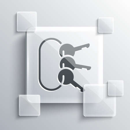 Grey Bunch of keys icon isolated on grey background. Square glass panels. Vector Illustration