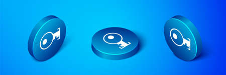 Isometric Key icon isolated on blue background. Blue circle button. Vector Illustration