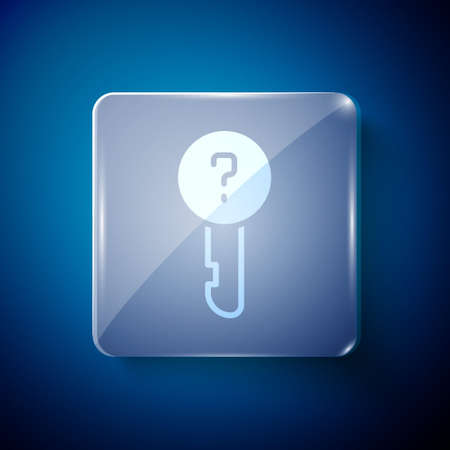 White Undefined key icon isolated on blue background. Square glass panels. Vector Illustration 일러스트