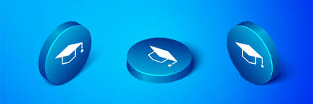 Isometric Graduation cap icon isolated on blue background. Graduation hat with tassel icon. Blue circle button. Vector Illustration.