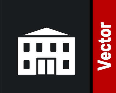 White School building icon isolated on black background. Vector Illustration. Stock Illustratie
