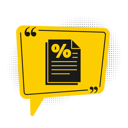 Black Finance document icon isolated on white background. Paper bank document for invoice or bill concept. Yellow speech bubble symbol. Vector Illustration
