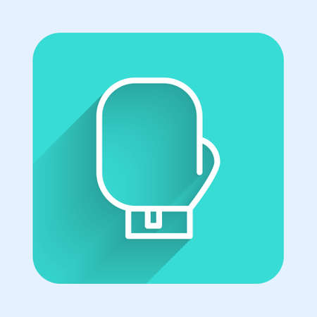 White line Boxing glove icon isolated with long shadow. Green square button. Vector Illustration