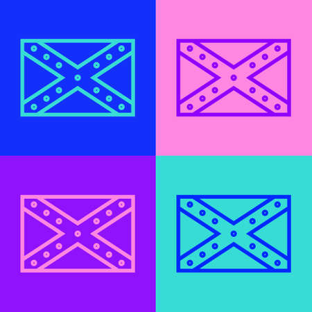 Pop art line National flag of the Confederate States of America icon isolated on color background. Vector Illustration
