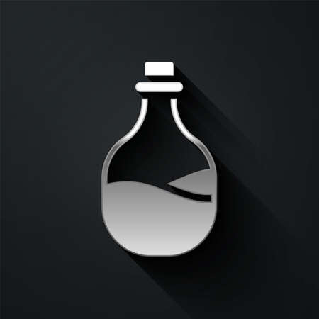 Silver Old bottle of wine icon isolated on black background. Long shadow style. Vector. Ilustracja
