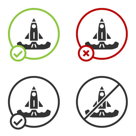 Black Rocket icon isolated on white background. Circle button. Vector Ilustrace