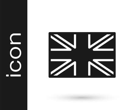 Black Flag of Great Britain icon isolated on white background. UK flag sign. Official United Kingdom flag. British symbol. Vector