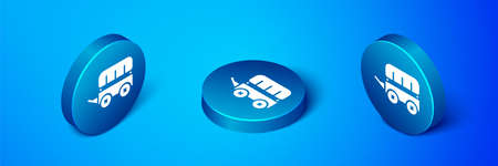 Isometric Wild west covered wagon icon isolated on blue background. Blue circle button. Vector Stock Illustratie