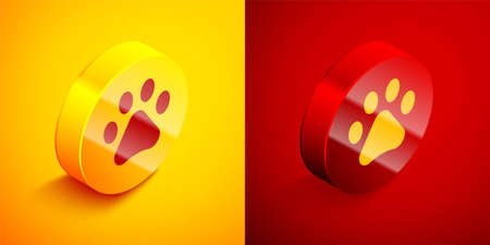 Isometric Paw print icon isolated on orange and red background. Dog or cat paw print. Animal track. Circle button. Vector  イラスト・ベクター素材