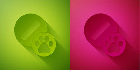 Paper cut Dog pill icon isolated on green and pink background. Prescription medicine for animal. Paper art style. Vector