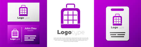 Logotype Pet carry case icon isolated on white background. Carrier for animals, dog and cat. Container for animals.