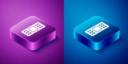 Isometric Bandage plaster icon isolated on blue and purple background. Medical plaster, adhesive bandage, flexible fabric bandage. Square button. Vector