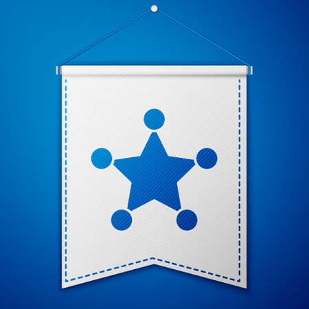 Blue Hexagram sheriff icon isolated on blue background. Police badge icon. White pennant template. Vector
