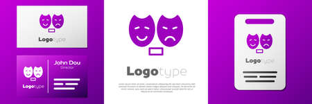 Logotype Comedy and tragedy theatrical masks icon isolated on white background.