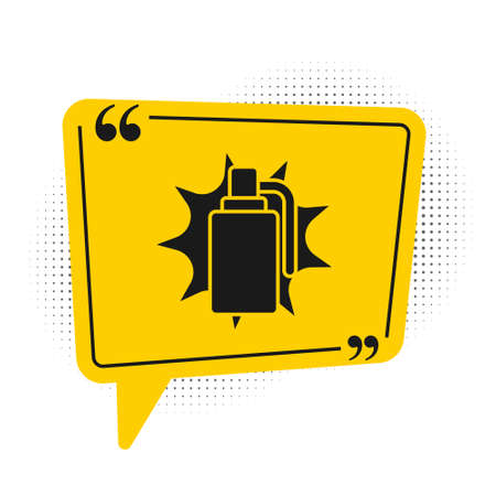 Black Hand grenade icon isolated on white background. Bomb explosion. Yellow speech bubble symbol. Vector Ilustrace