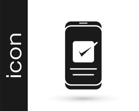 Grey Smartphone, mobile phone icon isolated on white background. Vector