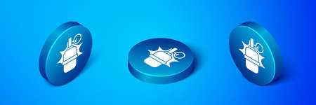 Isometric Hand grenade icon isolated on blue background. Bomb explosion. Blue circle button. Vector Ilustrace