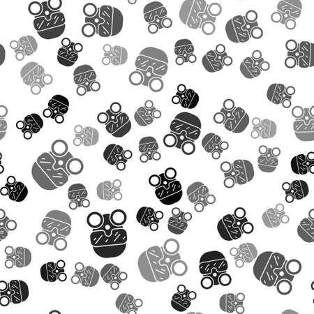 Black Gas mask icon isolated seamless pattern on white background. Respirator sign. Vector