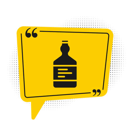 Black Tequila bottle icon isolated on white background. Mexican alcohol drink. Yellow speech bubble symbol. Vector